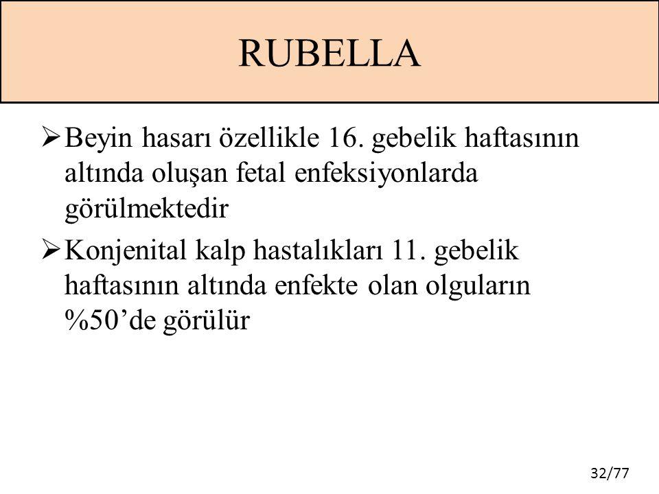 RUBELLA Beyin hasarı özellikle 16. gebelik haftasının altında oluşan fetal enfeksiyonlarda görülmektedir.