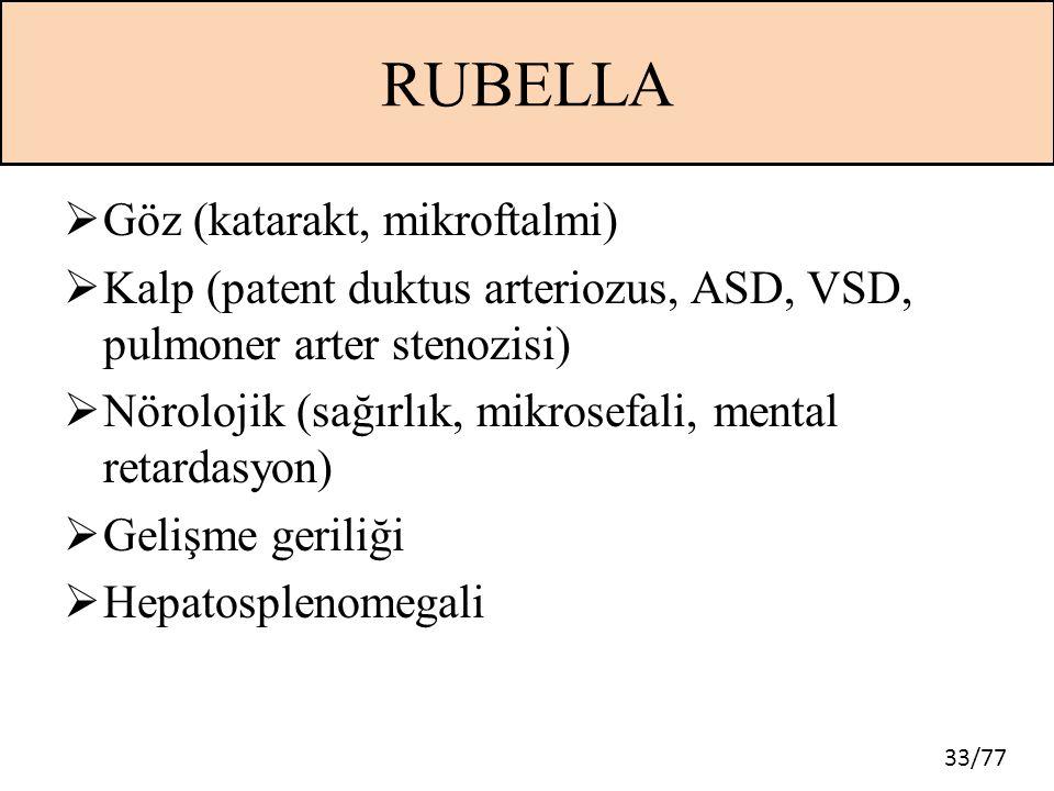 RUBELLA Göz (katarakt, mikroftalmi)