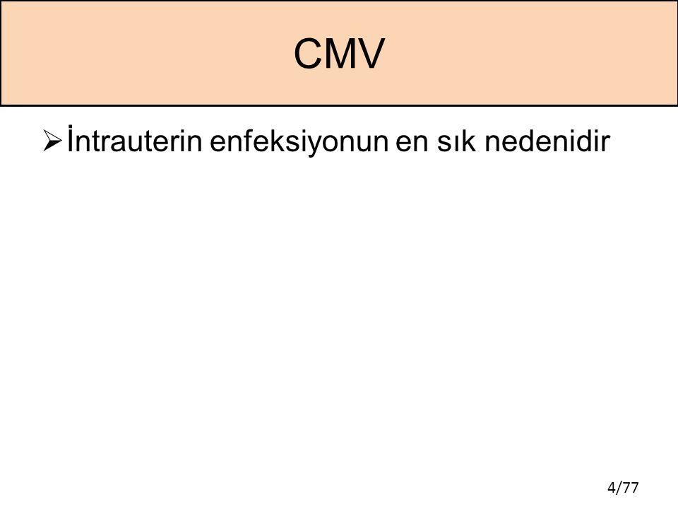 CMV İntrauterin enfeksiyonun en sık nedenidir