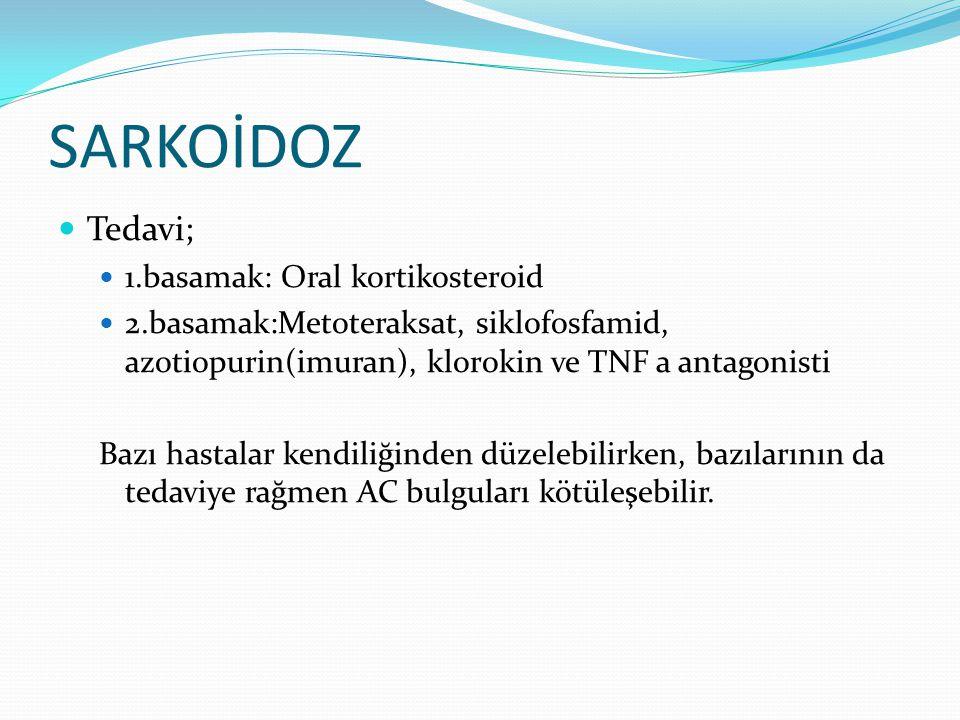 SARKOİDOZ Tedavi; 1.basamak: Oral kortikosteroid