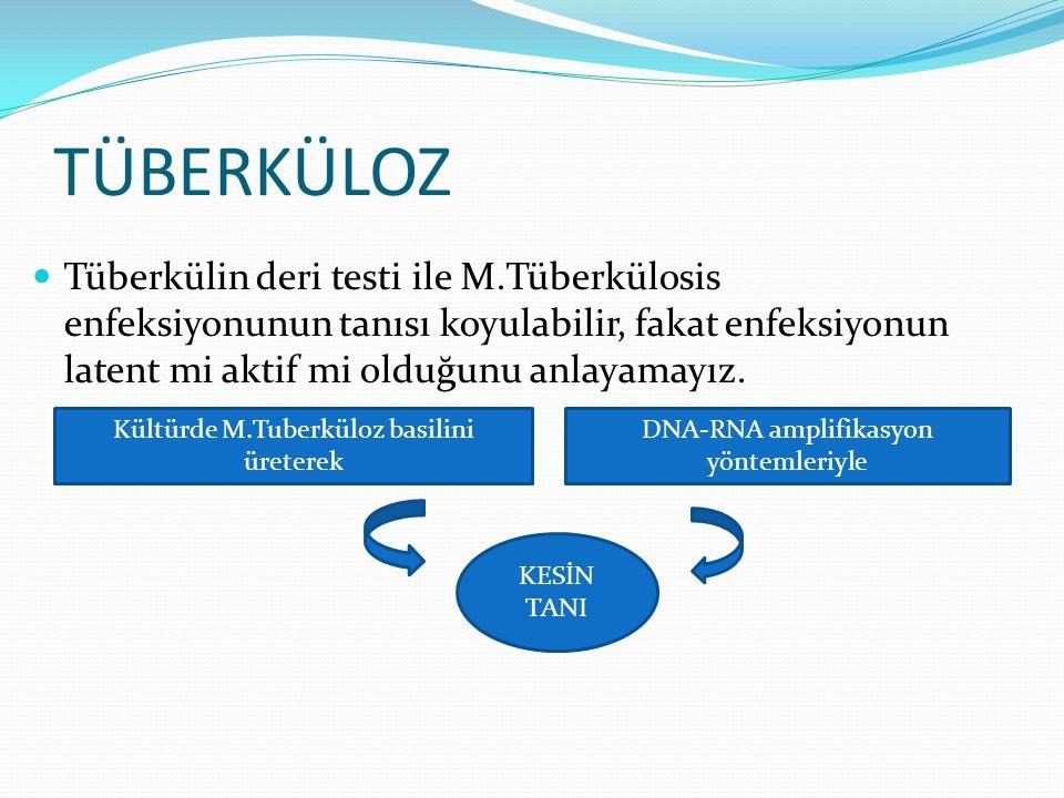 TÜBERKÜLOZ Tüberkülin deri testi ile M.Tüberkülosis enfeksiyonunun tanısı koyulabilir, fakat enfeksiyonun latent mi aktif mi olduğunu anlayamayız.