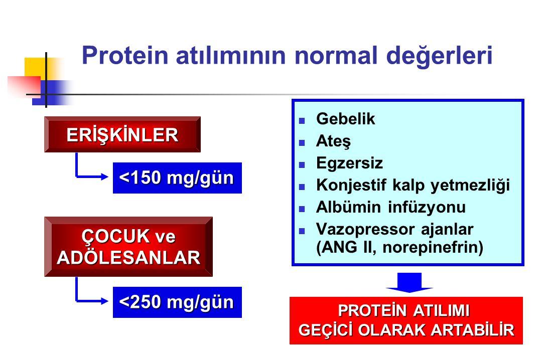 Protein atılımının normal değerleri