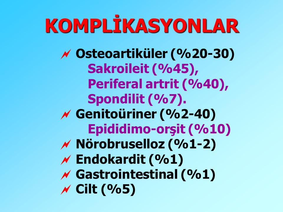 KOMPLİKASYONLAR Osteoartiküler (%20-30) Sakroileit (%45),