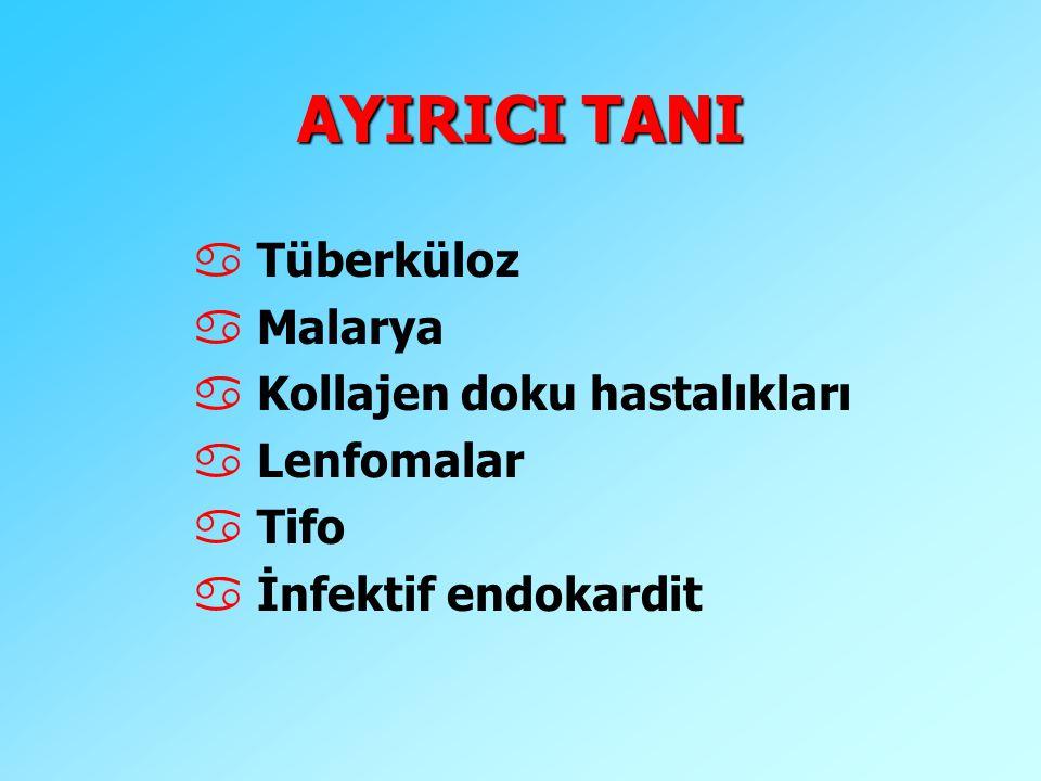 AYIRICI TANI Tüberküloz Malarya Kollajen doku hastalıkları Lenfomalar
