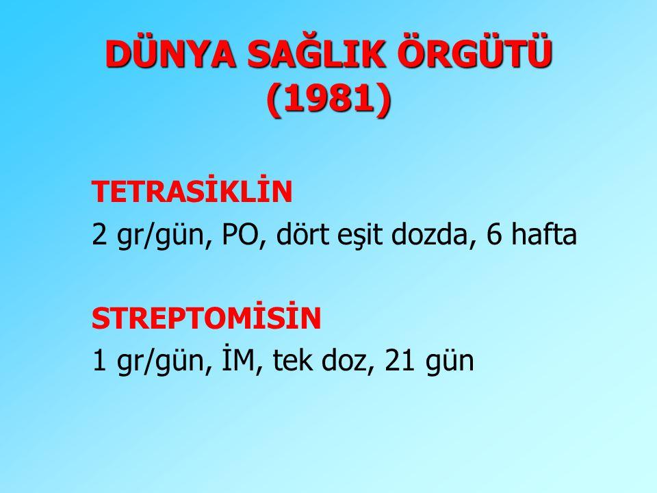 DÜNYA SAĞLIK ÖRGÜTÜ (1981) TETRASİKLİN