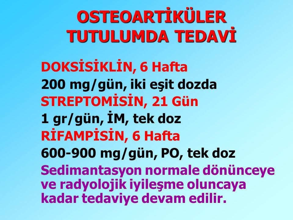 OSTEOARTİKÜLER TUTULUMDA TEDAVİ