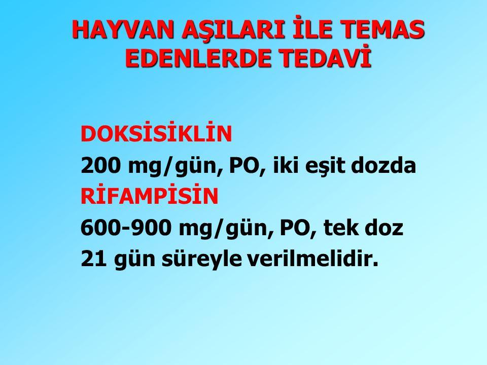 HAYVAN AŞILARI İLE TEMAS EDENLERDE TEDAVİ