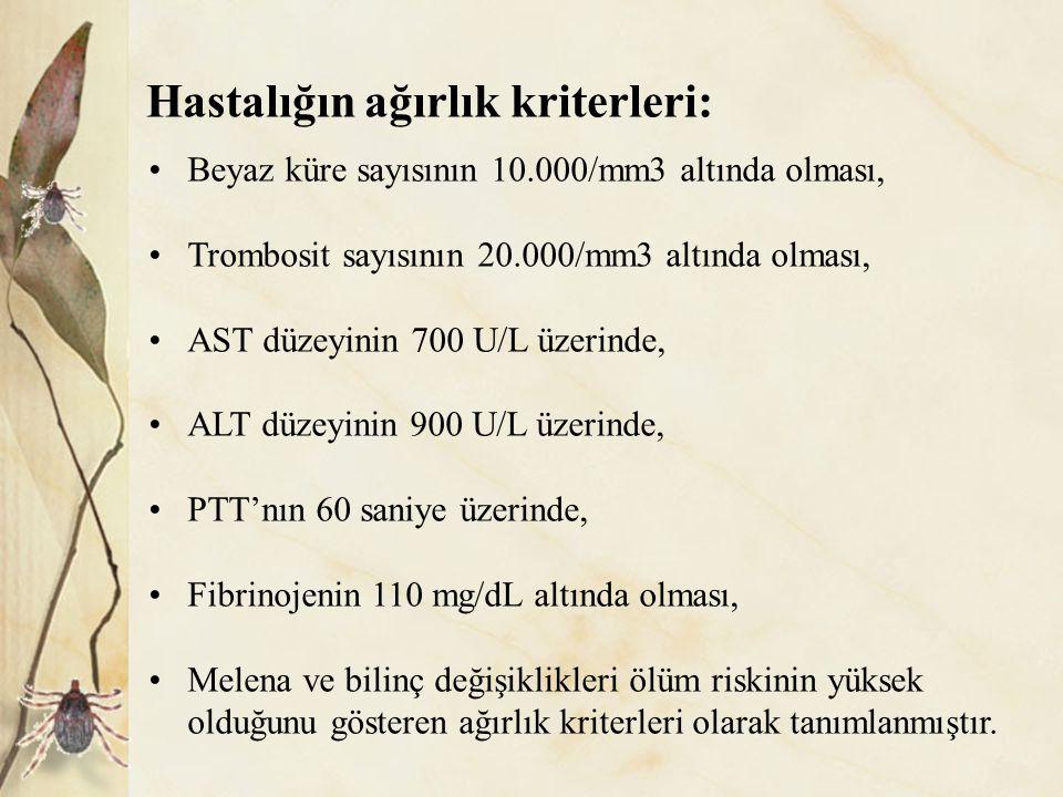 Hastalığın ağırlık kriterleri:
