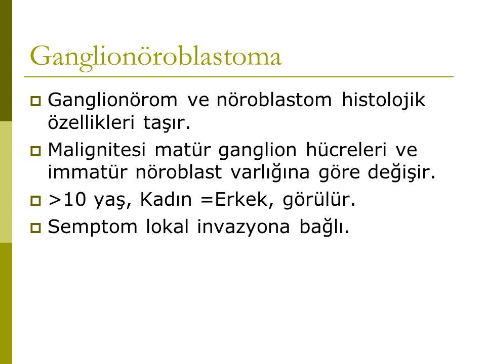 Ganglionöroblastoma Ganglionörom ve nöroblastom histolojik özellikleri taşır.