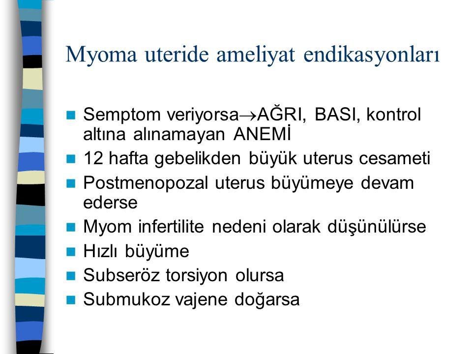 Myoma uteride ameliyat endikasyonları