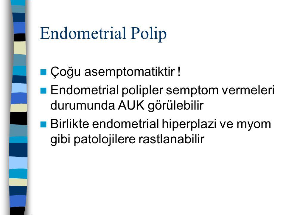 Endometrial Polip Çoğu asemptomatiktir !