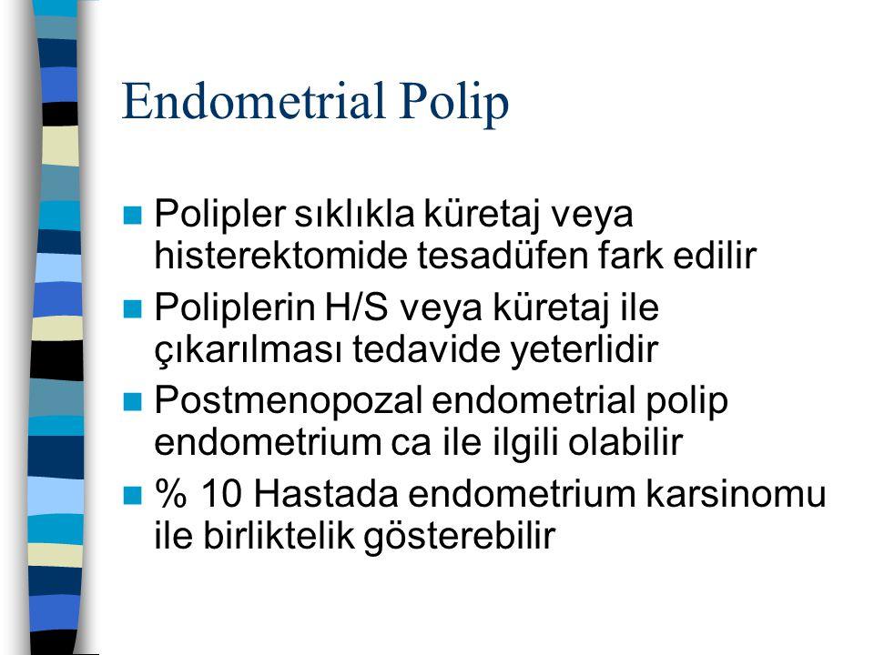 Endometrial Polip Polipler sıklıkla küretaj veya histerektomide tesadüfen fark edilir.