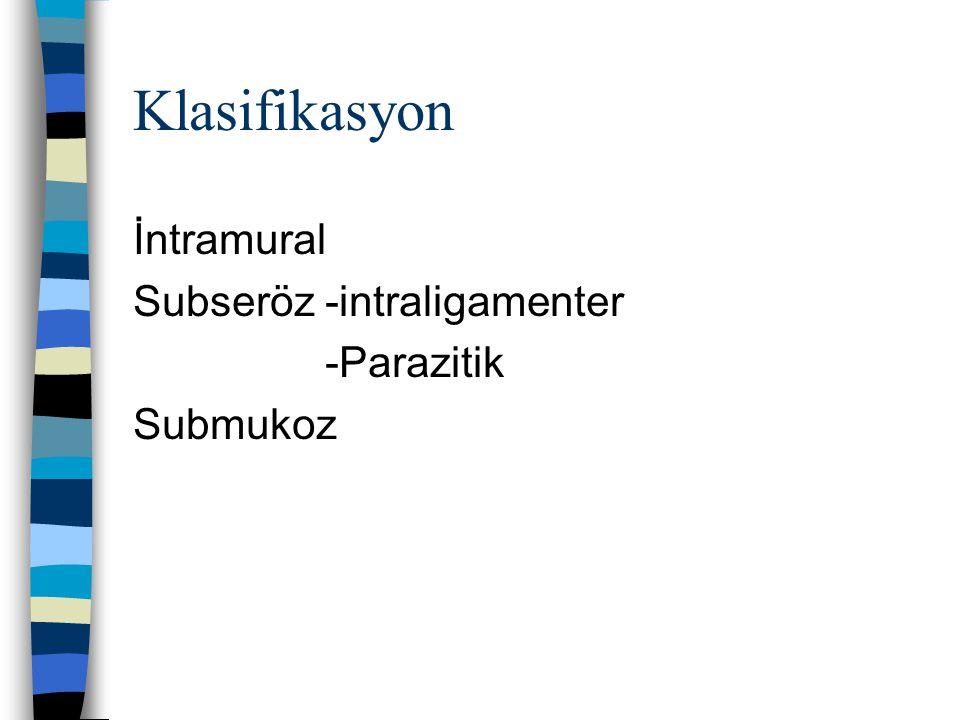 Klasifikasyon İntramural Subseröz -intraligamenter -Parazitik Submukoz