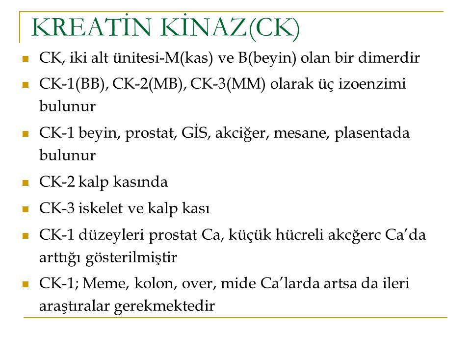 KREATİN KİNAZ(CK) CK, iki alt ünitesi-M(kas) ve B(beyin) olan bir dimerdir. CK-1(BB), CK-2(MB), CK-3(MM) olarak üç izoenzimi bulunur.