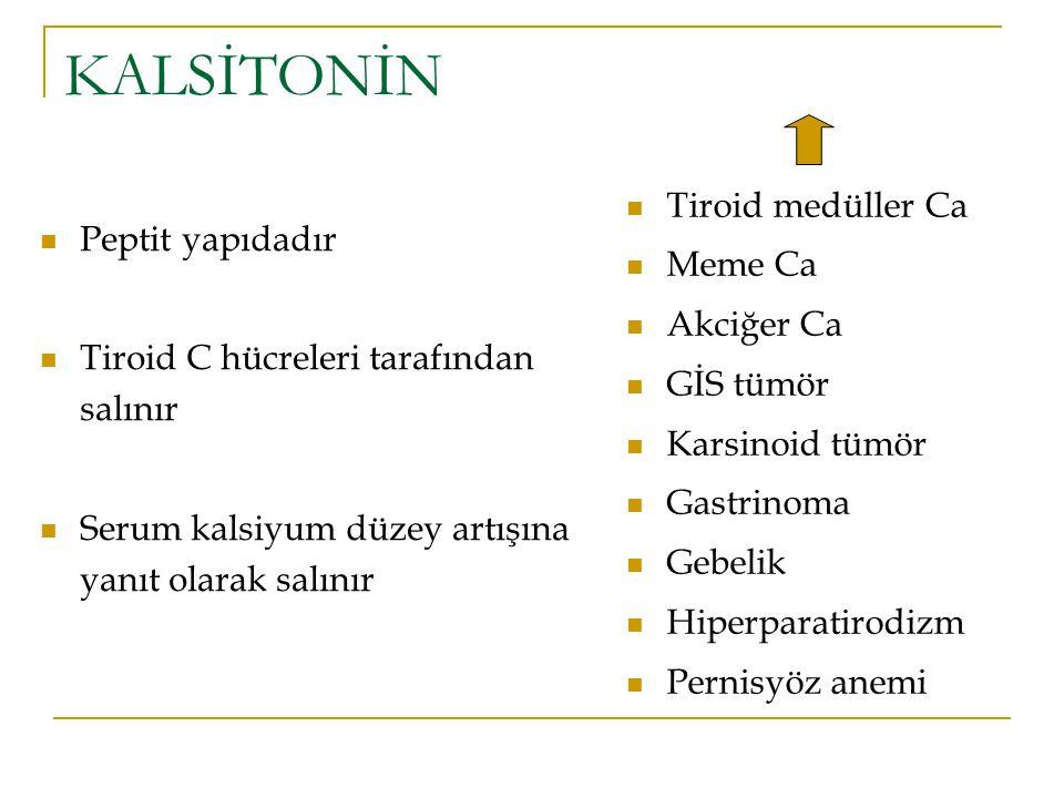 KALSİTONİN Tiroid medüller Ca Meme Ca Peptit yapıdadır Akciğer Ca