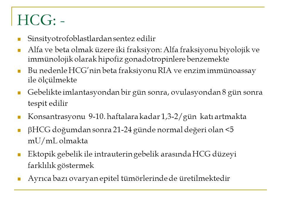 HCG: - Sinsityotrofoblastlardan sentez edilir