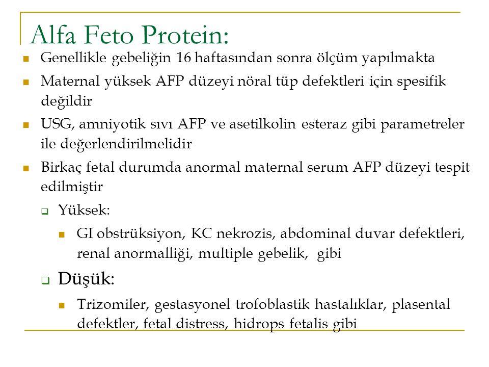 Alfa Feto Protein: Düşük: