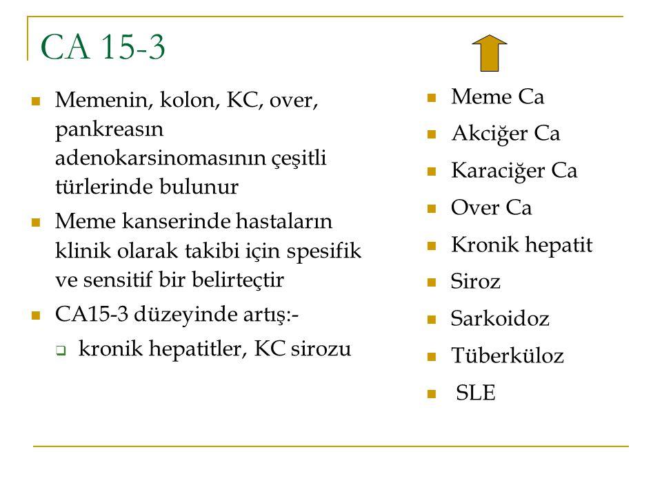 CA 15-3 Meme Ca Akciğer Ca Karaciğer Ca Over Ca Kronik hepatit Siroz