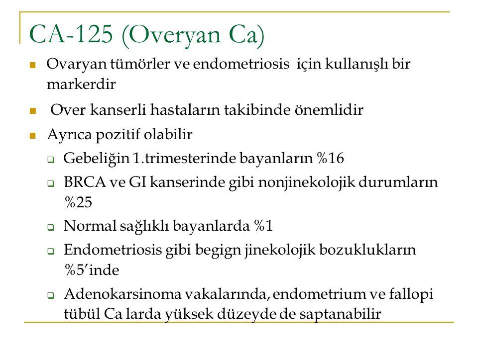 CA-125 (Overyan Ca) Over kanserli hastaların takibinde önemlidir