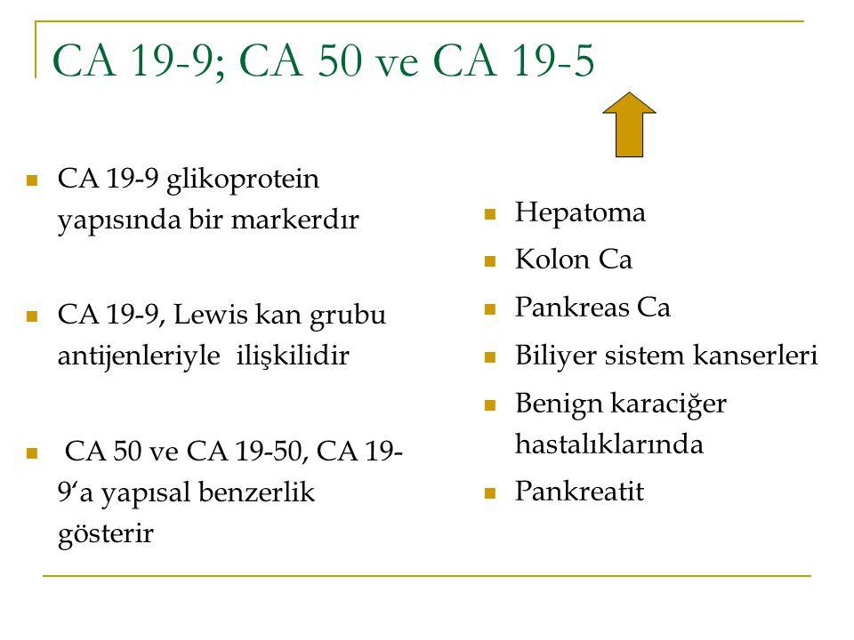 CA 19-9; CA 50 ve CA 19-5 CA 19-9 glikoprotein yapısında bir markerdır