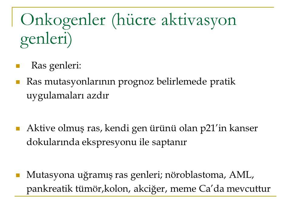 Onkogenler (hücre aktivasyon genleri)