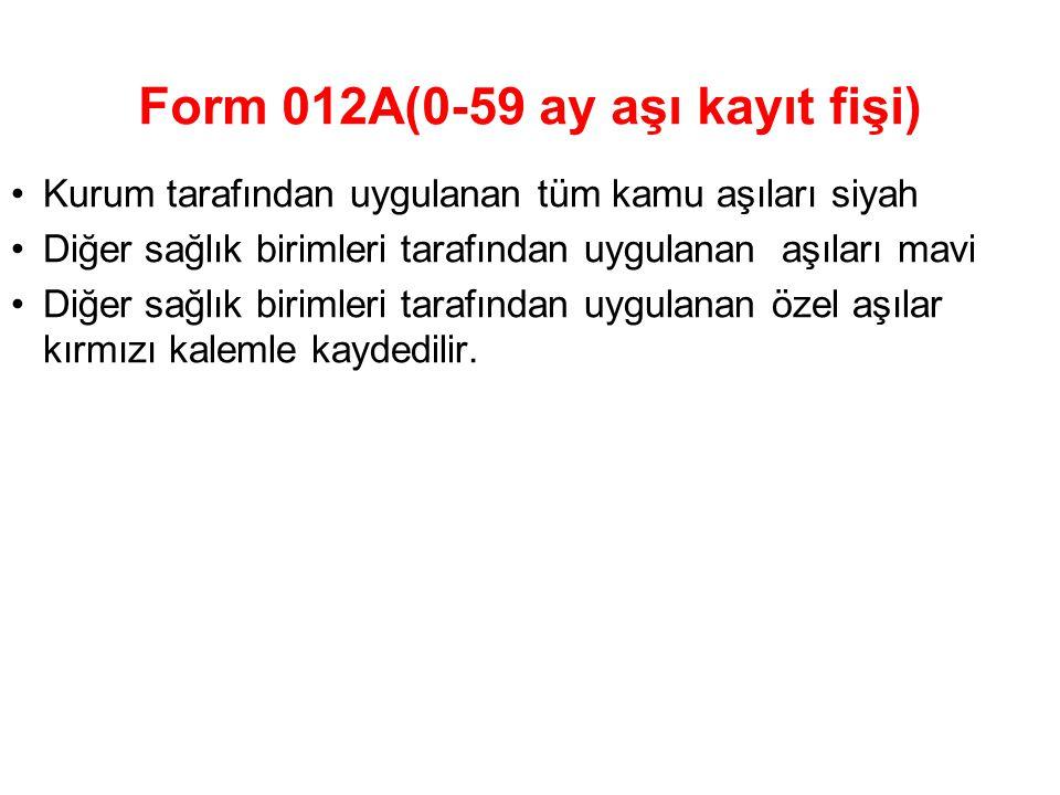Form 012A(0-59 ay aşı kayıt fişi)