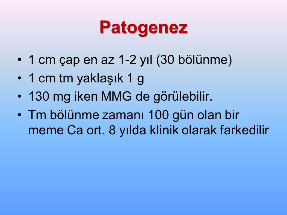 Patogenez 1 cm çap en az 1-2 yıl (30 bölünme) 1 cm tm yaklaşık 1 g