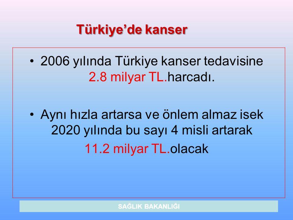 2006 yılında Türkiye kanser tedavisine 2.8 milyar TL.harcadı.