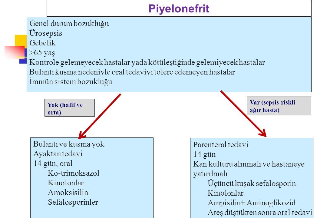 Piyelonefrit Genel durum bozukluğu Ürosepsis Gebelik >65 yaş