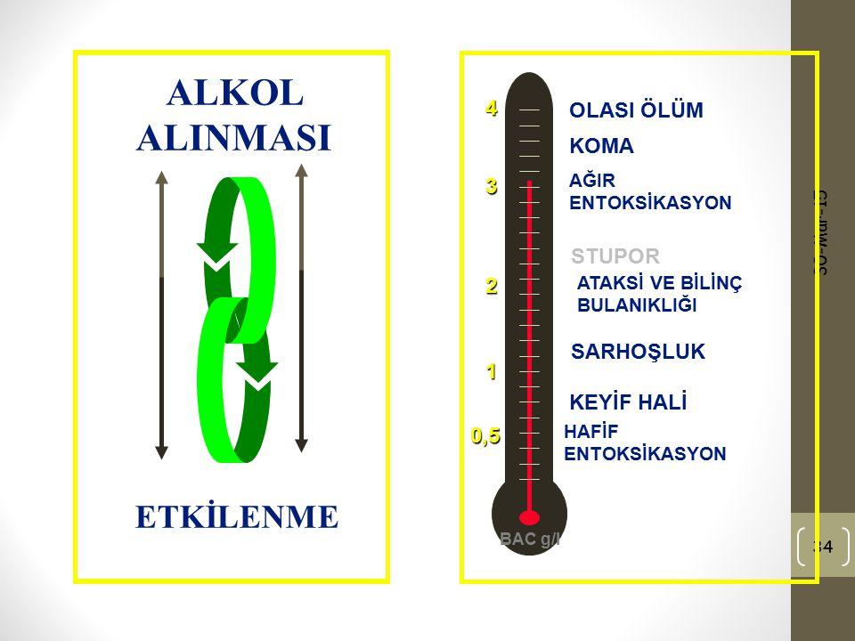 ALKOL ALINMASI ETKİLENME 4 OLASI ÖLÜM KOMA 3 STUPOR 2 SARHOŞLUK 1