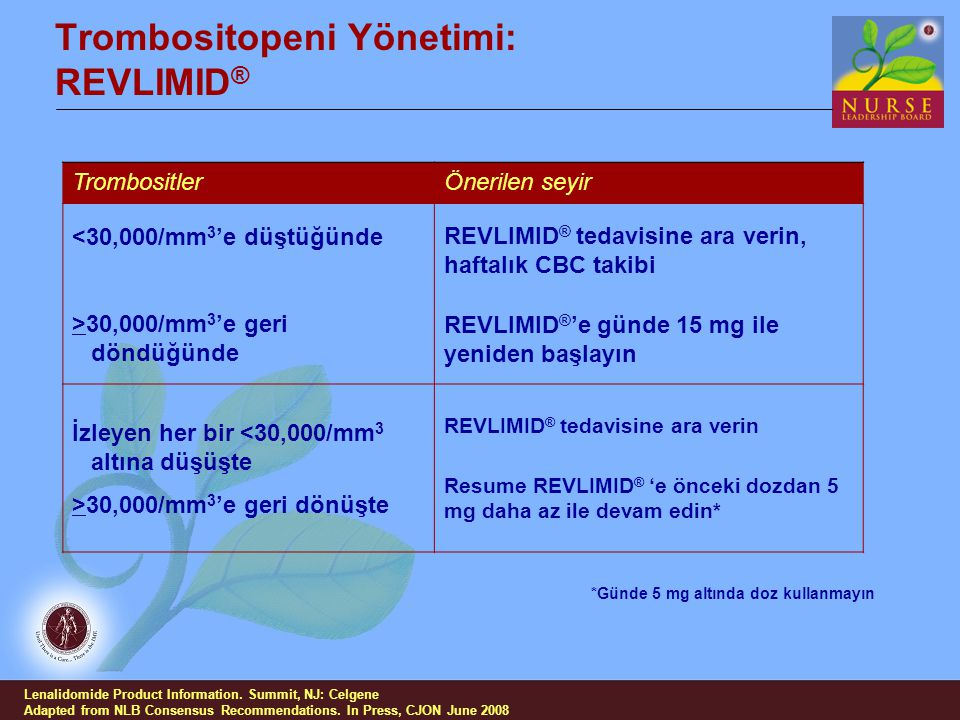 Trombositopeni Yönetimi: REVLIMID®