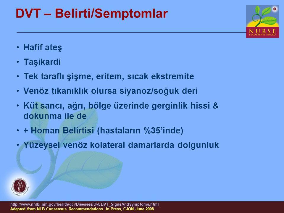 DVT – Belirti/Semptomlar