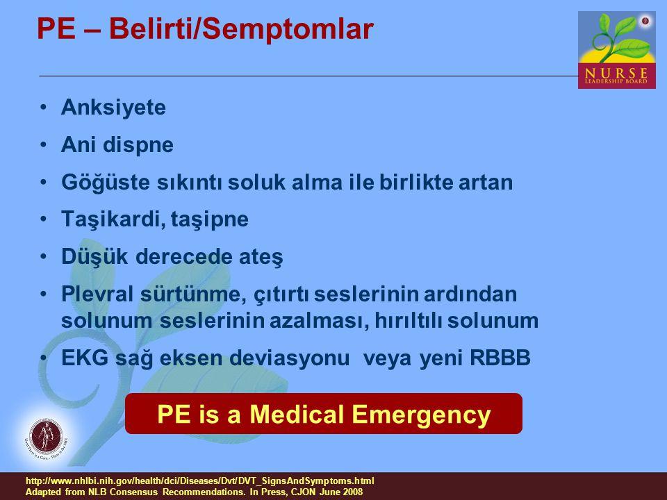 PE – Belirti/Semptomlar
