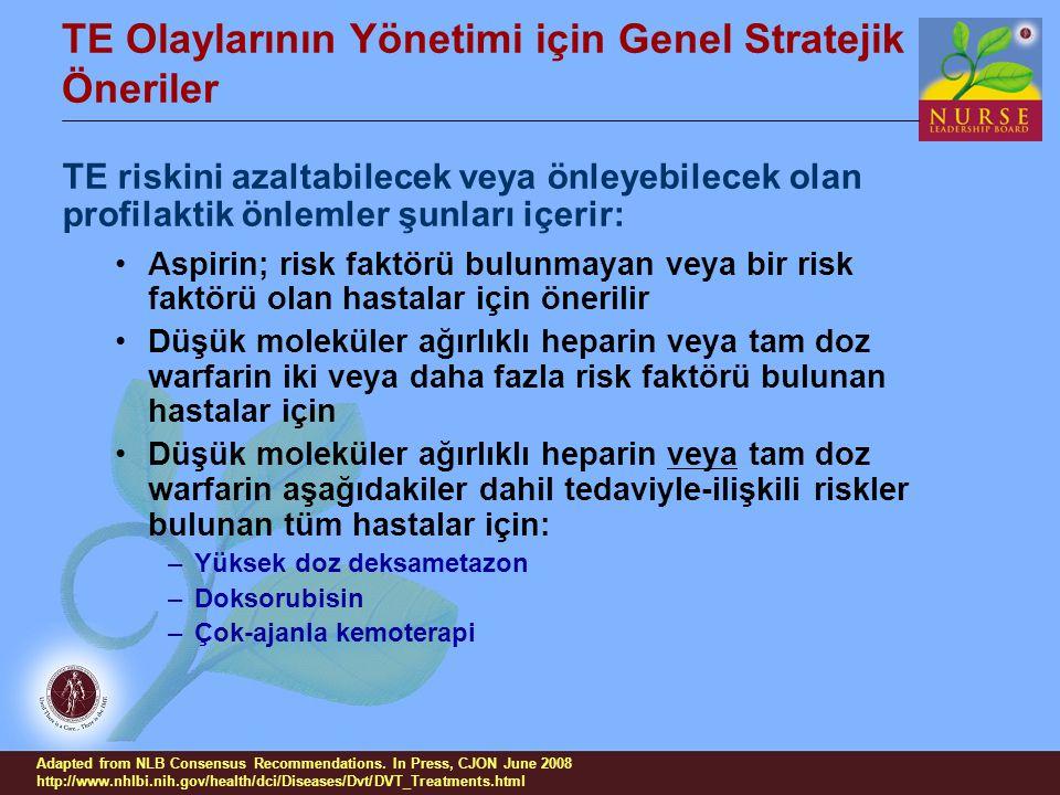 TE Olaylarının Yönetimi için Genel Stratejik Öneriler