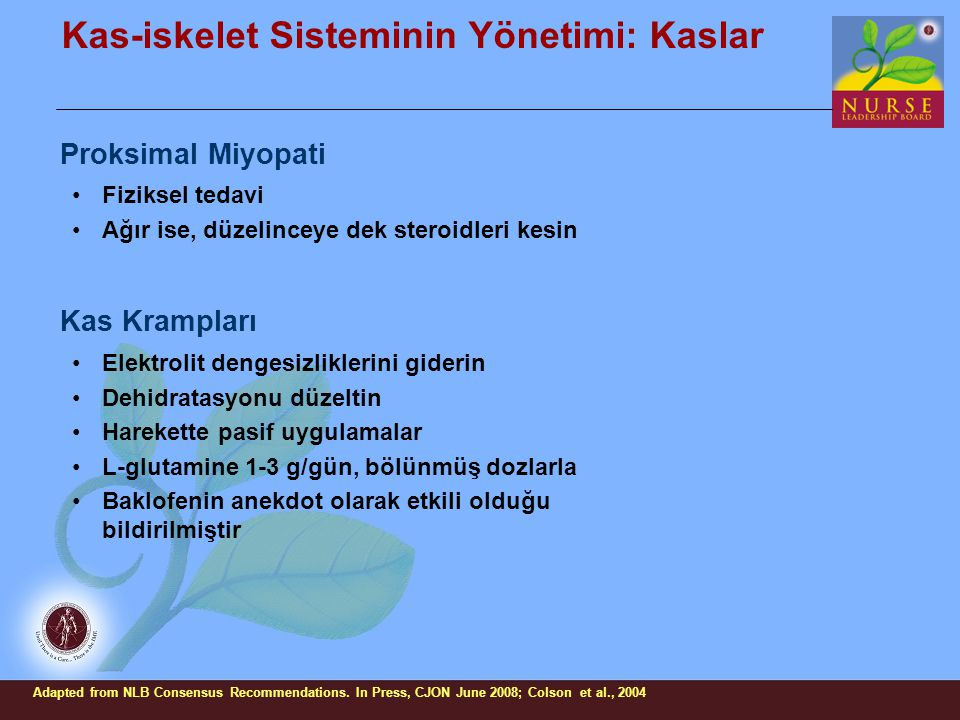 Kas-iskelet Sisteminin Yönetimi: Kaslar