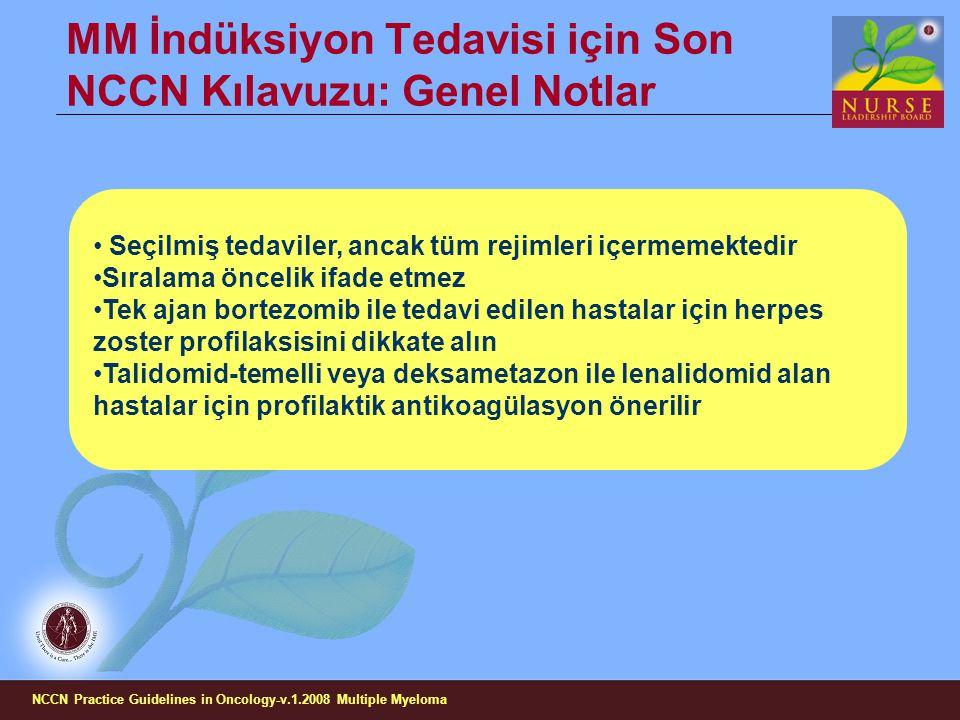 MM İndüksiyon Tedavisi için Son NCCN Kılavuzu: Genel Notlar