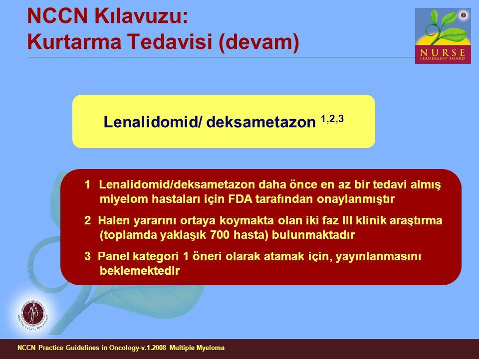 NCCN Kılavuzu: Kurtarma Tedavisi (devam)
