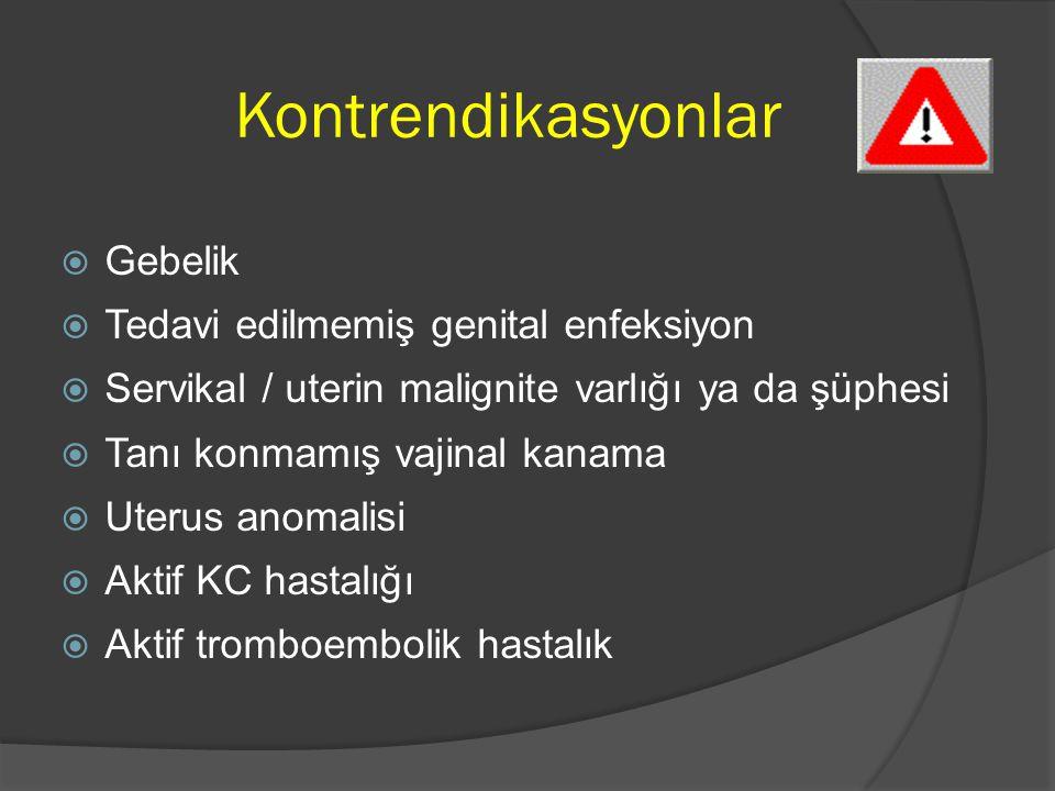 Kontrendikasyonlar Gebelik Tedavi edilmemiş genital enfeksiyon