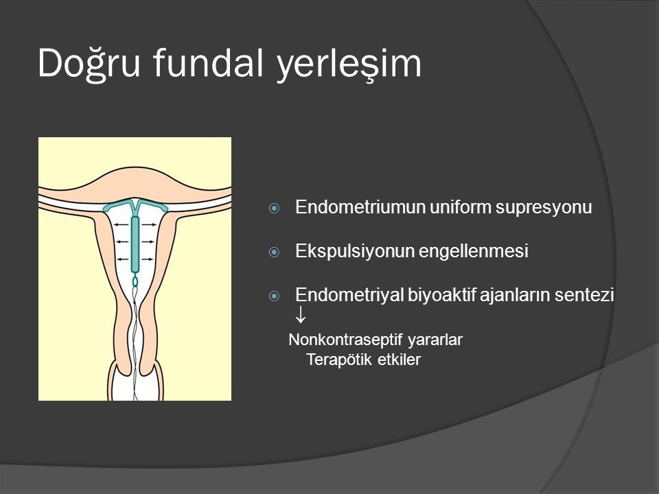 Doğru fundal yerleşim Endometriumun uniform supresyonu