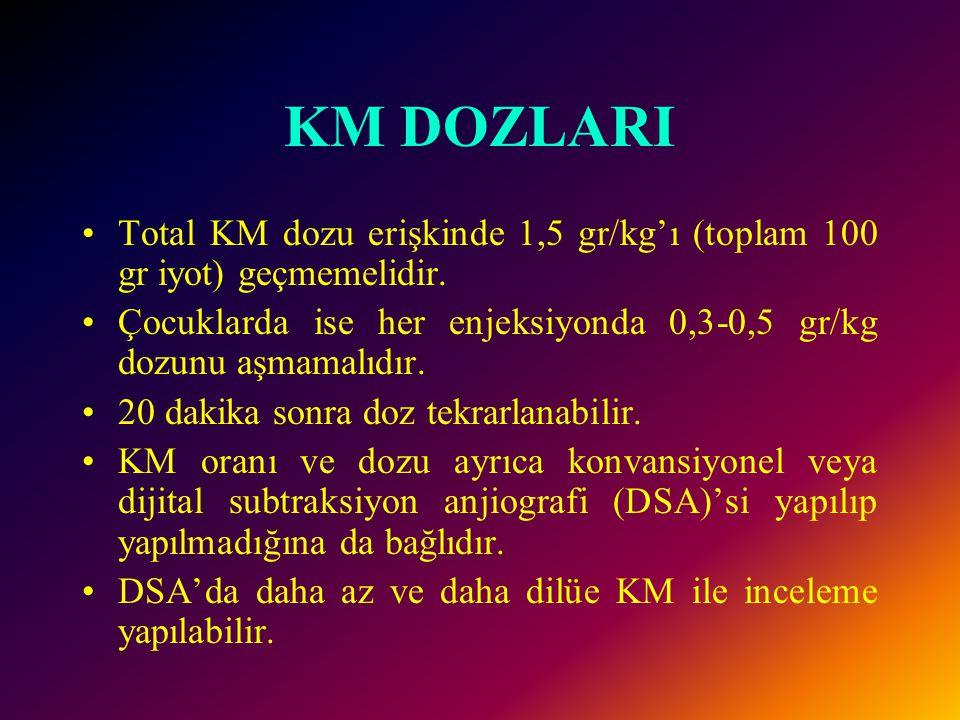 KM DOZLARI Total KM dozu erişkinde 1,5 gr/kg'ı (toplam 100 gr iyot) geçmemelidir. Çocuklarda ise her enjeksiyonda 0,3-0,5 gr/kg dozunu aşmamalıdır.