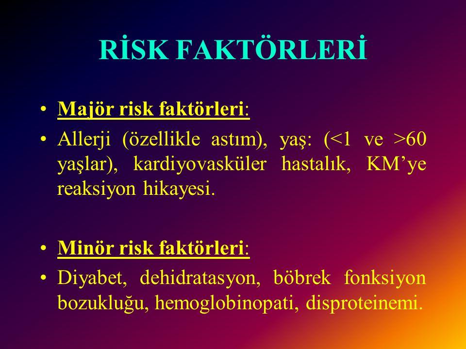 RİSK FAKTÖRLERİ Majör risk faktörleri: