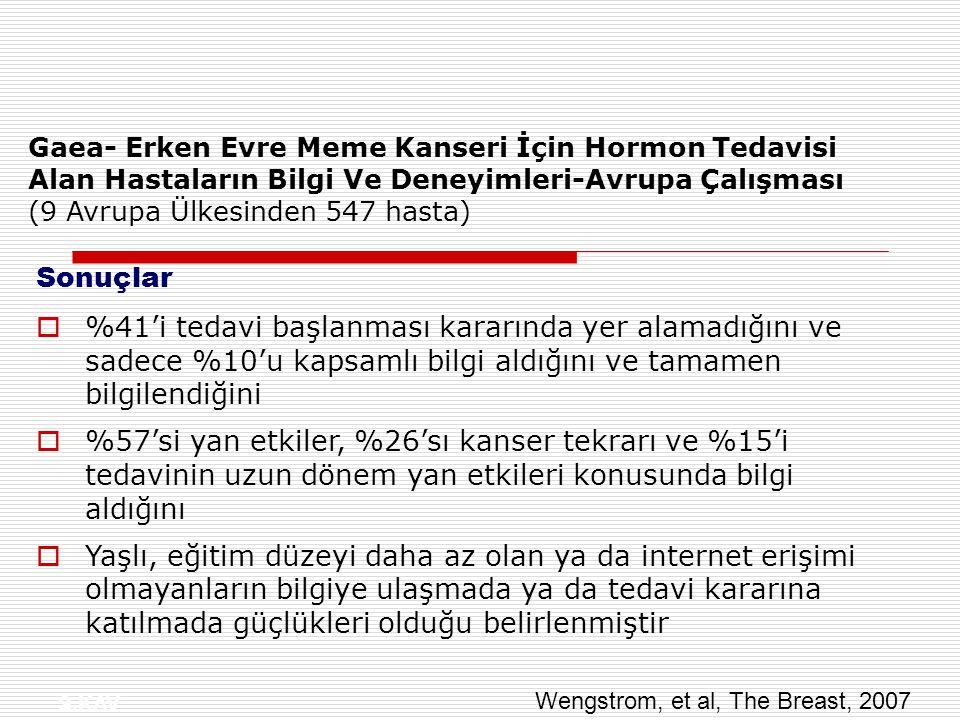 Gaea- Erken Evre Meme Kanseri İçin Hormon Tedavisi Alan Hastaların Bilgi Ve Deneyimleri-Avrupa Çalışması (9 Avrupa Ülkesinden 547 hasta)