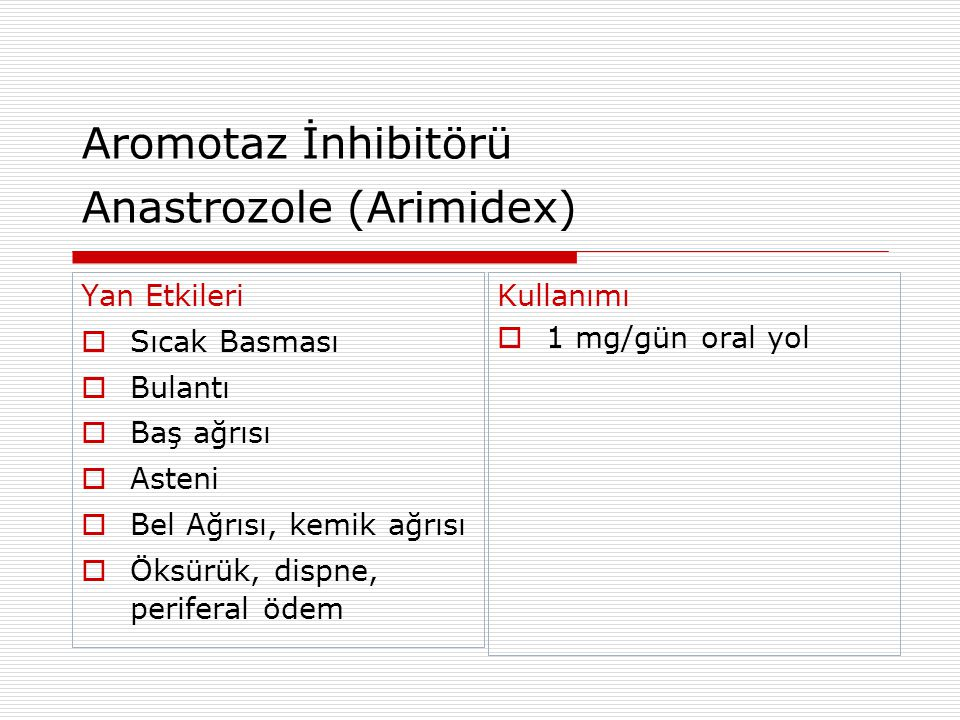 Aromotaz İnhibitörü Anastrozole (Arimidex)