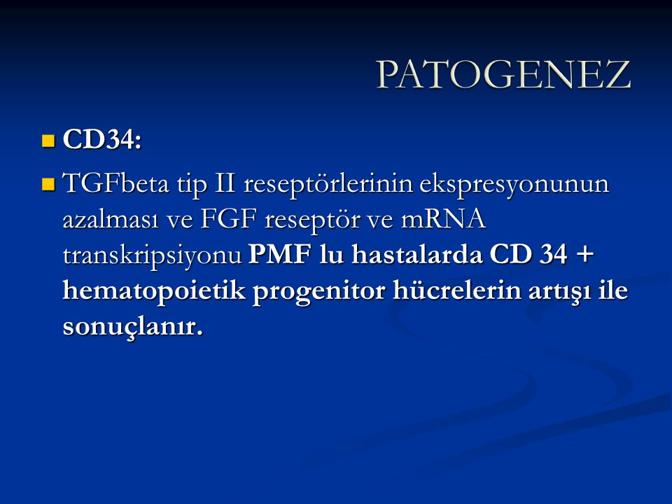 PATOGENEZ CD34: