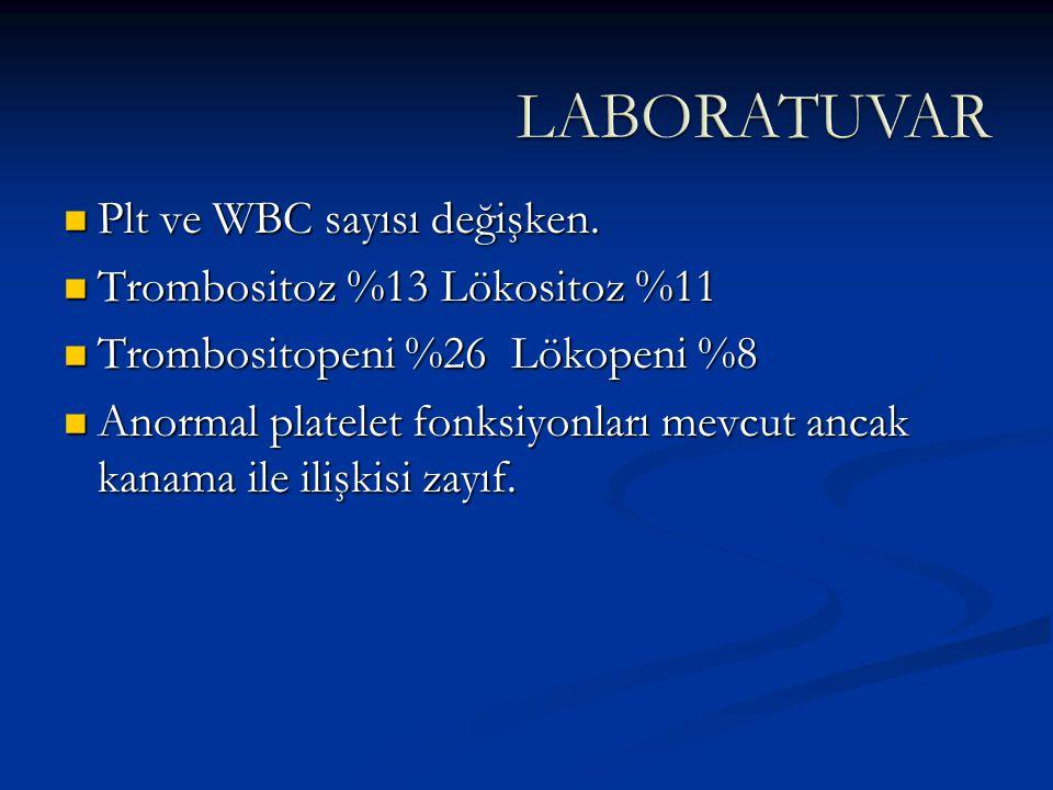 LABORATUVAR Plt ve WBC sayısı değişken. Trombositoz %13 Lökositoz %11