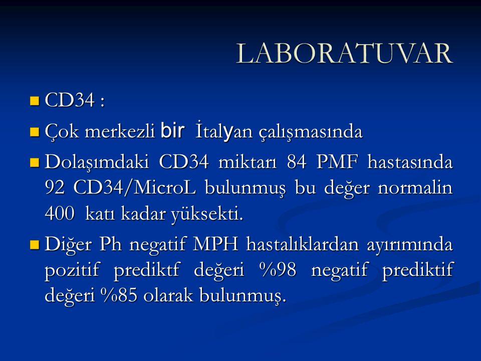 LABORATUVAR CD34 : Çok merkezli bir İtalyan çalışmasında