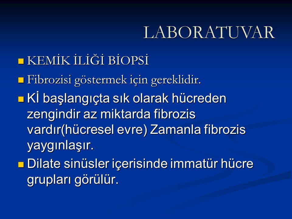 LABORATUVAR KEMİK İLİĞİ BİOPSİ Fibrozisi göstermek için gereklidir.