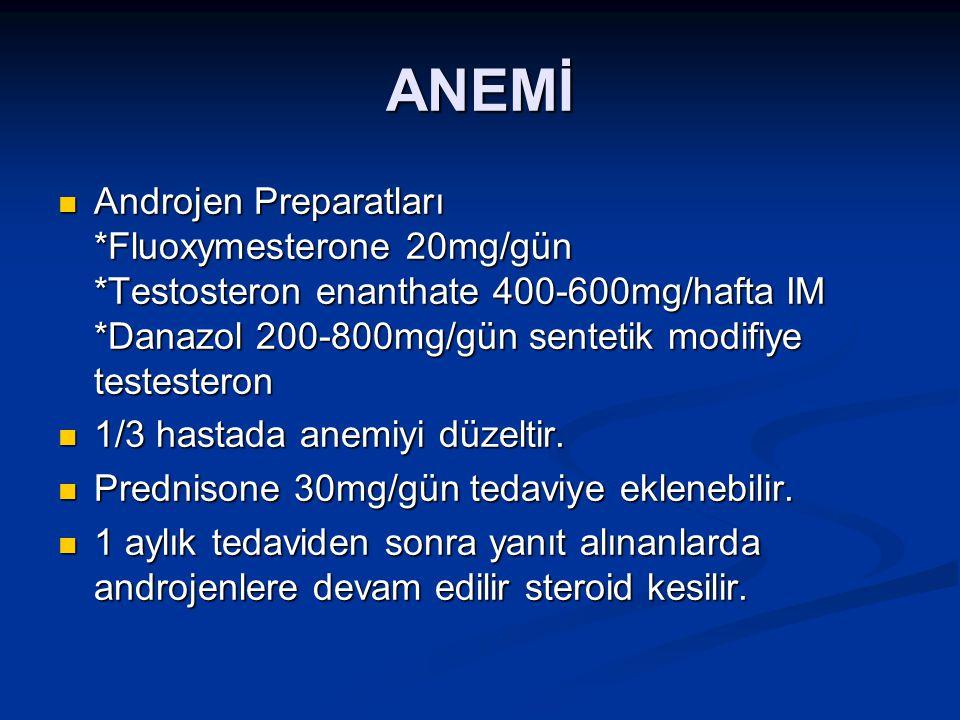 ANEMİ Androjen Preparatları *Fluoxymesterone 20mg/gün *Testosteron enanthate 400-600mg/hafta IM *Danazol 200-800mg/gün sentetik modifiye testesteron.