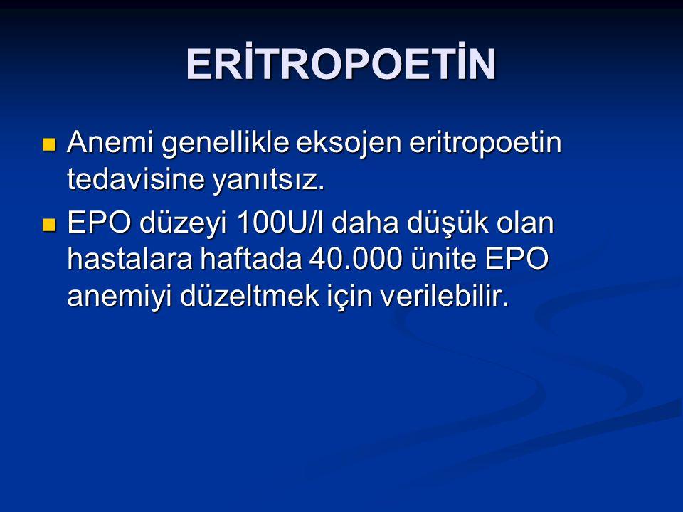 ERİTROPOETİN Anemi genellikle eksojen eritropoetin tedavisine yanıtsız.