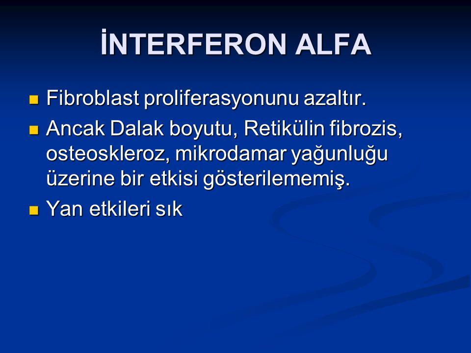 İNTERFERON ALFA Fibroblast proliferasyonunu azaltır.